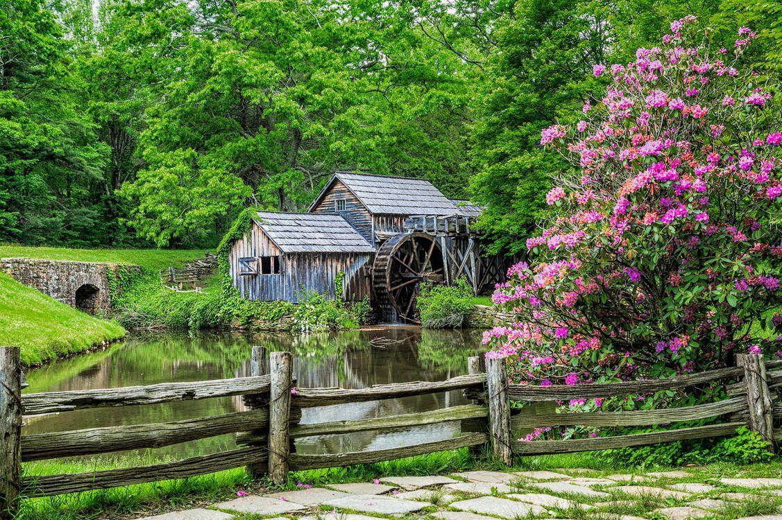 Фото бесплатно Mabry Mill, Вирджиния, Сша, водяная мельница, пейзажи