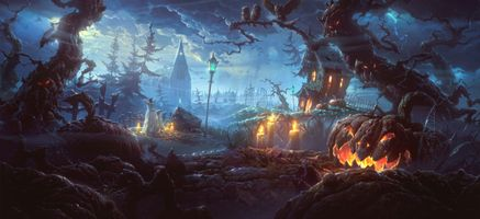 Заставки Хэллоуин,halloween,фантастика,фэнтези,фантасмагория,панорама