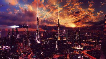Фото бесплатно ночь, художественные работы, футуристический город