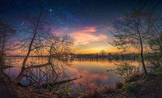 Бесплатные фото Скиптон,Великобритания,Йоркшир,закат,сумерки,озеро,деревья