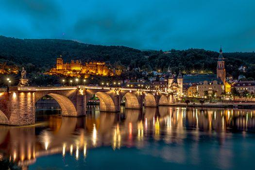 Фото бесплатно Heidelberg, замок, ночной город