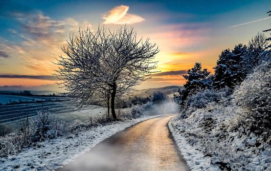 Beautiful pictures of snow, road free