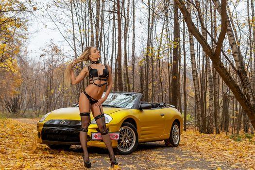 Photo free beautiful girl in glamorous stockings, car, Mustang