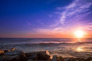 Бесплатные фото море, камни, закат