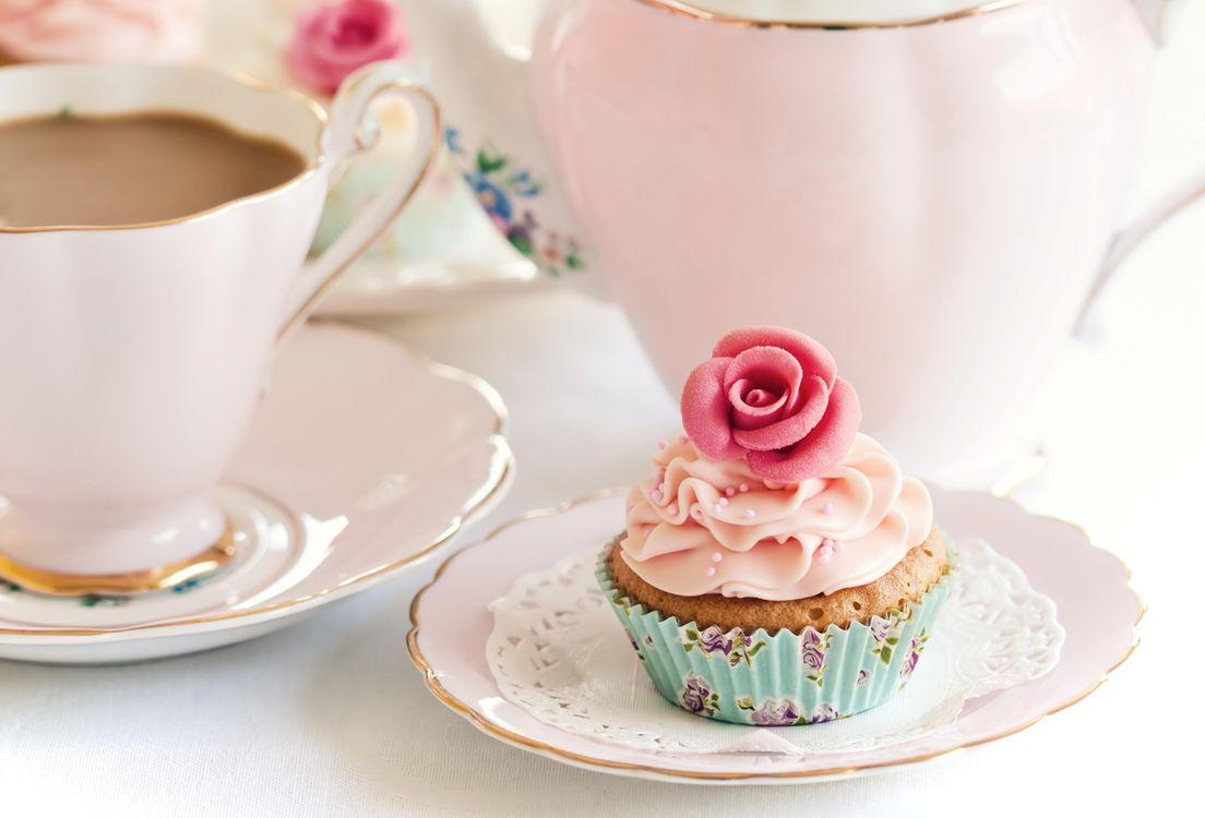 Фото бесплатно pirozhnoe, krem, rozovyy, cvetok, еда