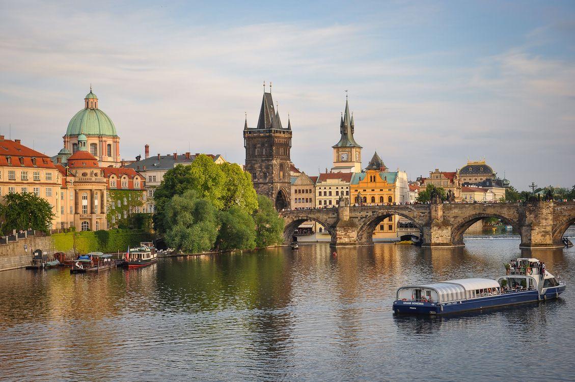 Фото бесплатно Prague, Vltava River, Charles Bridge, Прага, Влтава, Карлов мост, Чехия, город