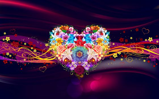 Photo free heart, flowers, abstraction