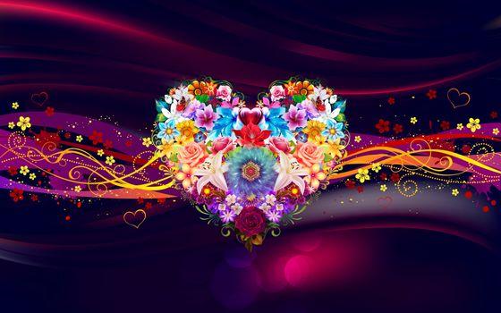 Бесплатные фото сердечко,сердце,цветы,абстракция,wallpapers