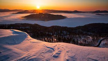 Фото бесплатно горы, закат, горные формы рельефа