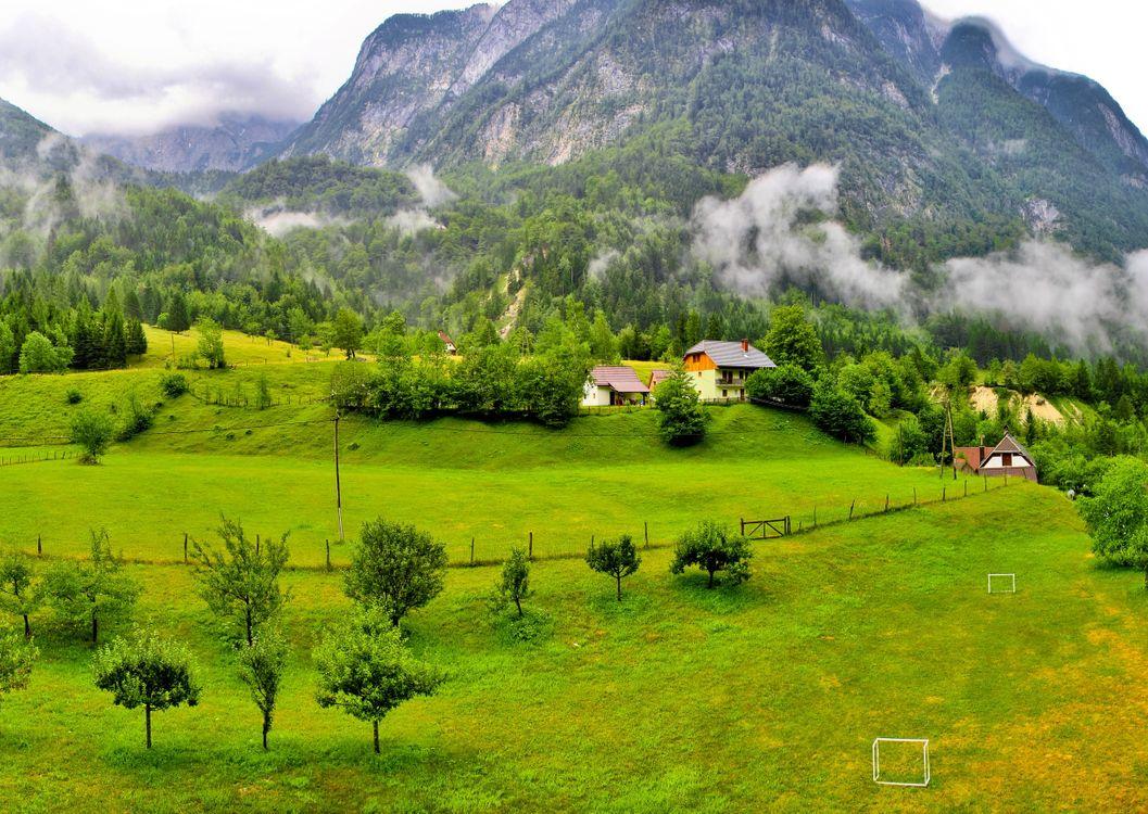 Фото бесплатно дом, туман, холмы - на рабочий стол