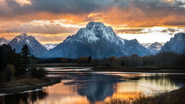 Фото бесплатно национальный парк Гранд-Титон, США, снеговая линия