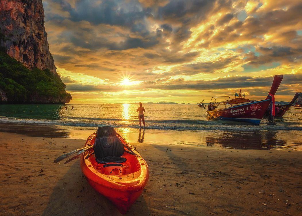 Фото бесплатно Krabi, Thailand, Краби, Таиланд, море, океан, закат солнца - на рабочий стол