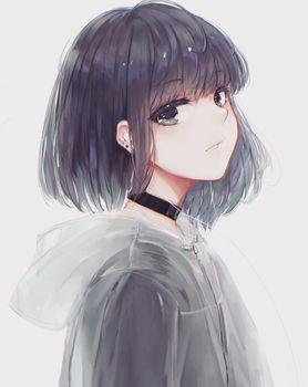 Photo free anime girl, profile type, short hair