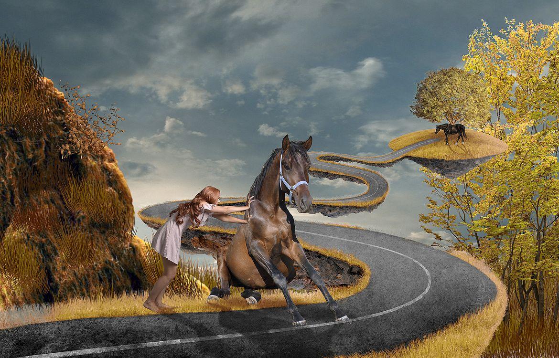 Фото бесплатно девушка, лошадь, дорога, art, рендеринг