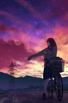 Photo free anime girl, sunset, bicycle