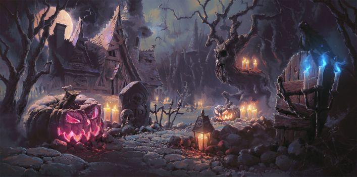 Фото бесплатно Хэллоуин, панорама, фантасмагория