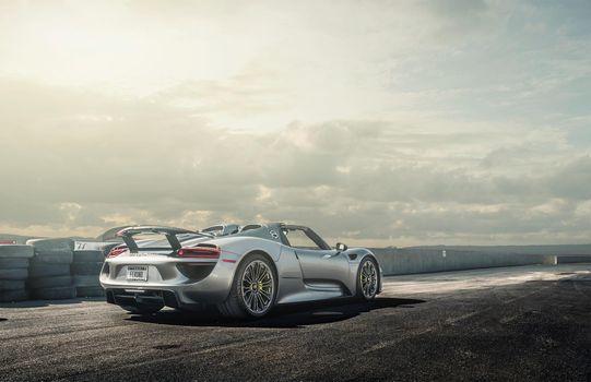 Photo free Porsche, spoiler, silvery