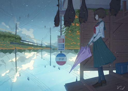 Фото бесплатно довольно аниме девушка, дождь, зонтик