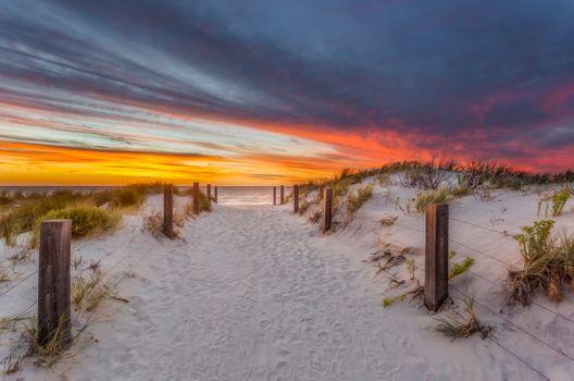 Фото бесплатно закат, дорога к морю, песок