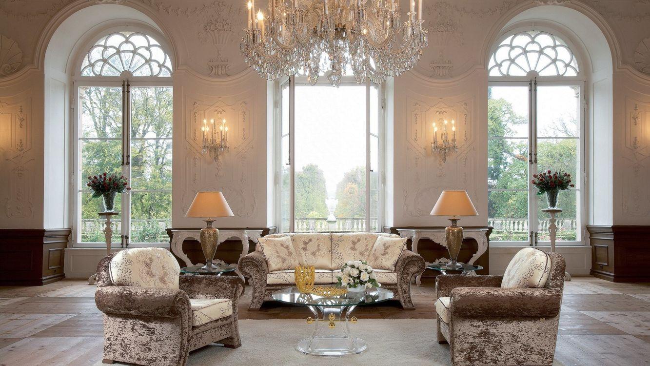 Фото бесплатно кресла, роскошь, диван, люстра, гостиная, интерьер