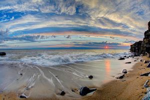 Заставки закат, море, волны