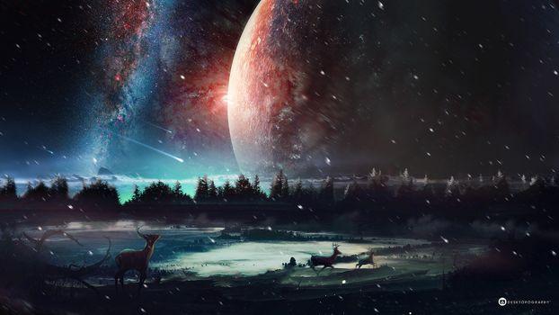 Заставки планета, олень, метеор