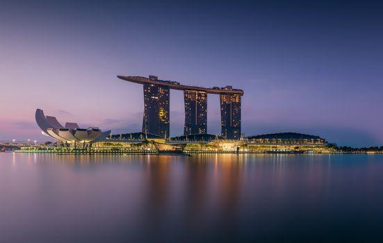 Заставки сингапур, современная архитектура, огни