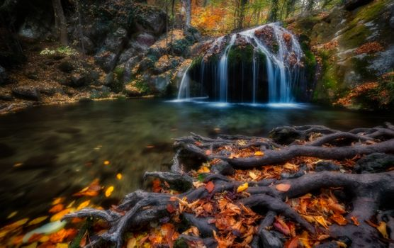 Фото бесплатно осень, водопад, опавшие листья