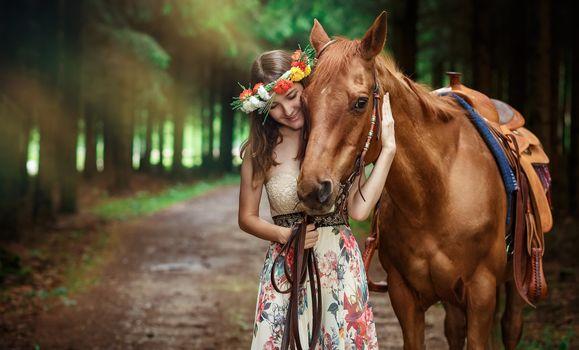 Фото бесплатно на открытом воздухе, модель, лошадь