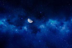 Фото бесплатно луна, голубая туманность, звезды