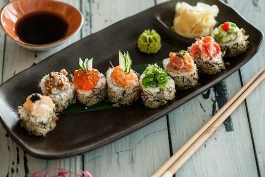 Фото бесплатно суши, японская кухня, азиатская пища