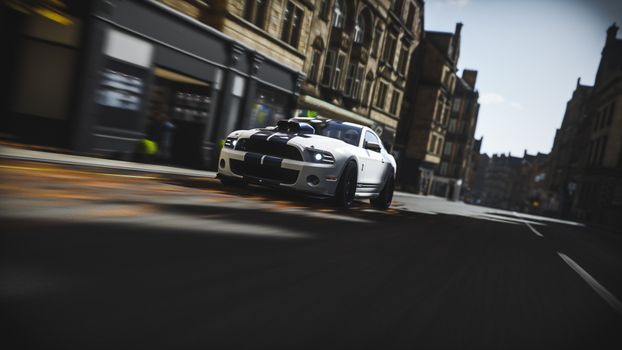Фото бесплатно Ford Mustang shelby gt500, дорога, вид спереди
