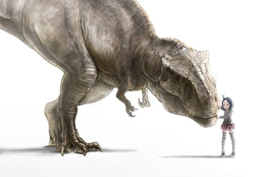 Photo free anime, girl, dinosaur