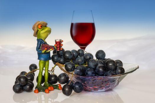 Photo free food, frog, wine