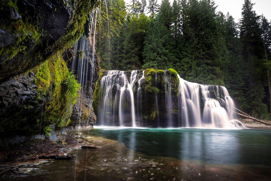 Фото бесплатно Lower Lewis Falls, Нижний водопад Льюис, Водопад в Вашингтоне, пейзажи