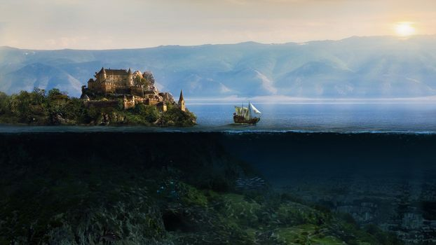 Photo free fantasy art, sailing ship, underwater
