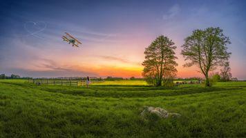 Фото бесплатно закат солнца, поле, пастбище