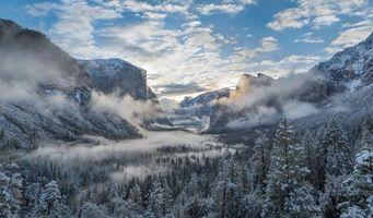 Бесплатные фото Йосемитский национальный парк,Калифорния,горы,зима,деревья,пейзаж