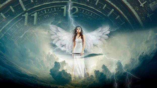 Бесплатные фото ангел,время,фантазия,магический,рай,облака,молния,девушка,фантастика,фотошоп