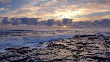 Бесплатные фото закат, море, волны, скалистый, берег, небо, облака
