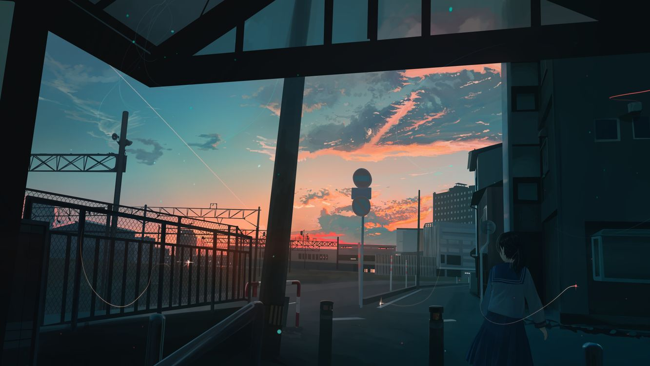 Фото бесплатно пейзажи аниме, закат, аниме - на рабочий стол