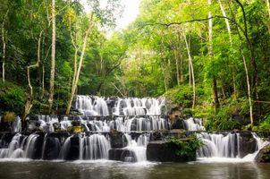 Бесплатные фото водопад,Таиланд,скалы,деревья,пейзаж