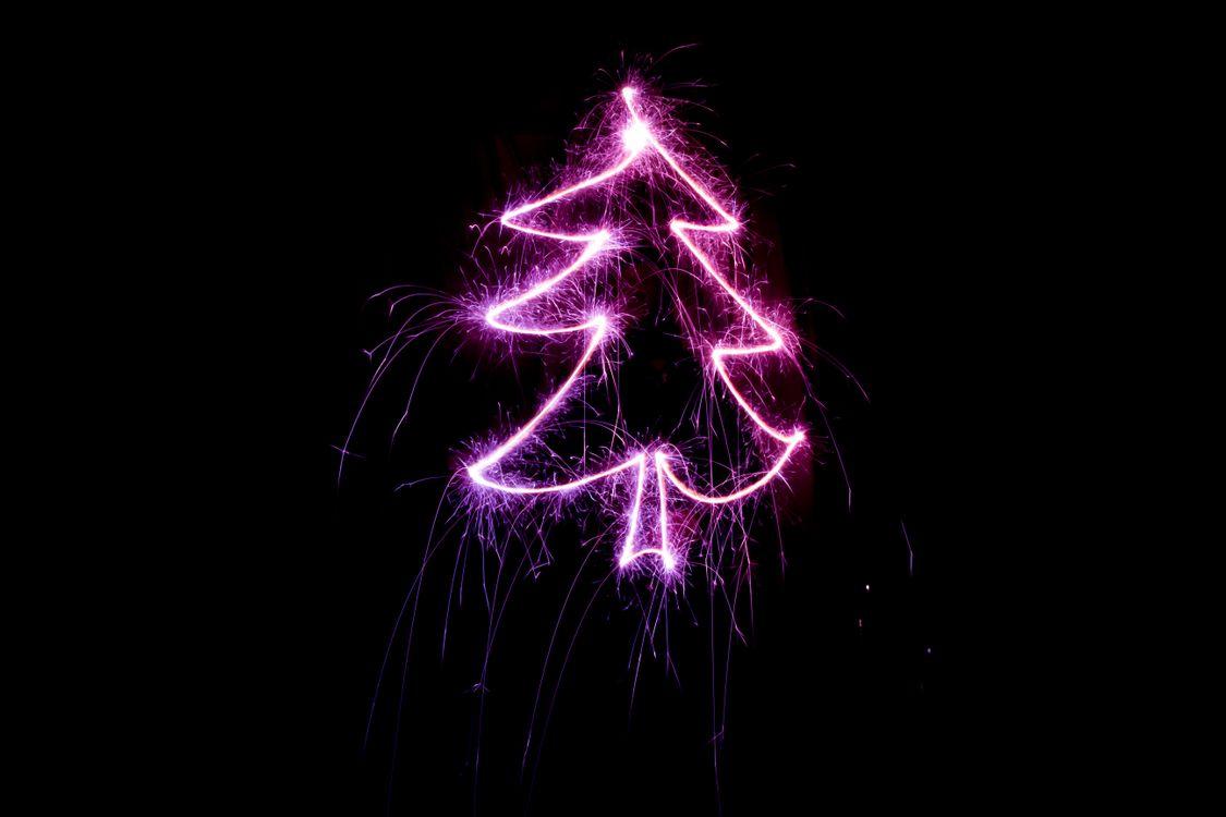 Фото бесплатно christmas tree, art, light, sparks, елка, силуэт, огни, новый год, новый год