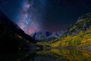 Бесплатные фото Марун Беллс,Колорадо,Maroon Bells,Colorado,озеро,сияние,свечение