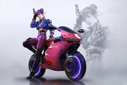 Photo free gun, motorcycle, girl