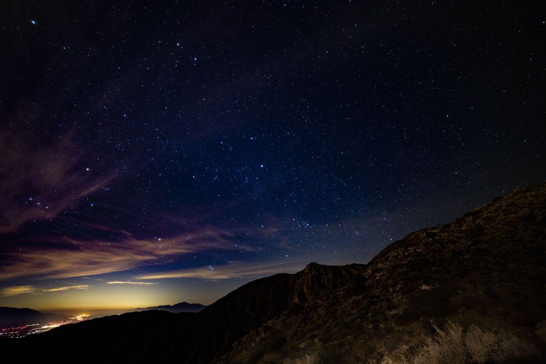 Фото бесплатно звездное небо, горы, звезды - на рабочий стол