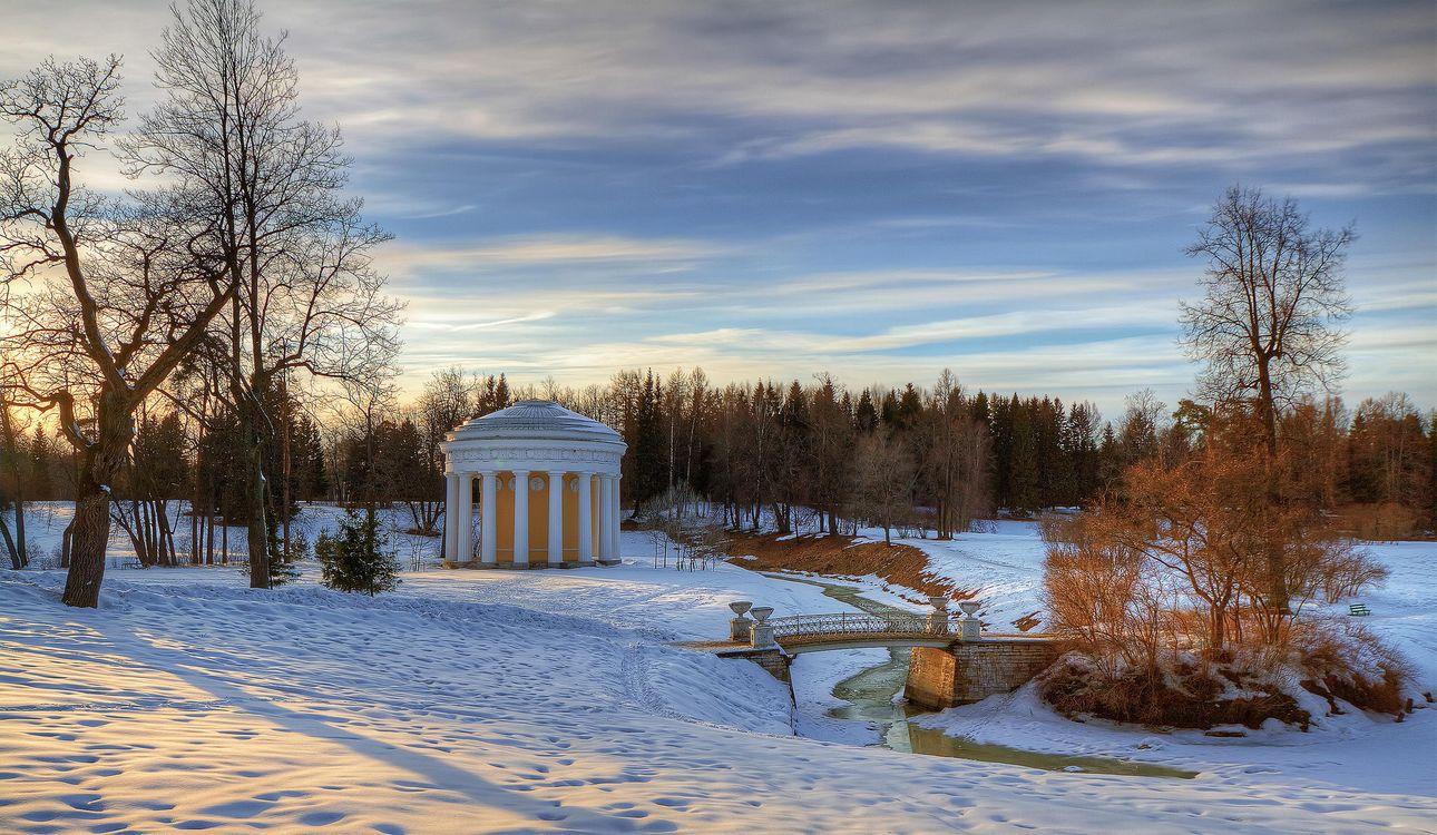 Фото бесплатно Павловский парк, Павловск, Россия, зима, закат, пейзаж, пейзажи