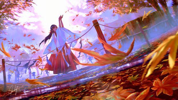 Заставки аниме Мико девушка, осень, листья