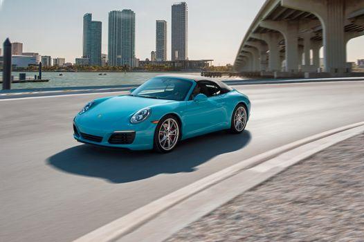 Photo free Porsche 911 Carrera S, aqua, convertible