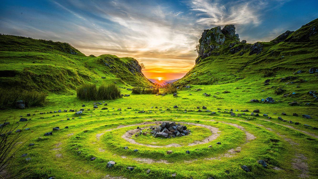 Фото бесплатно трава, спирали, круги - на рабочий стол